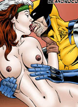 Rogue and Wolverine having sex